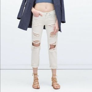 Zara white distressed loose fit jeans